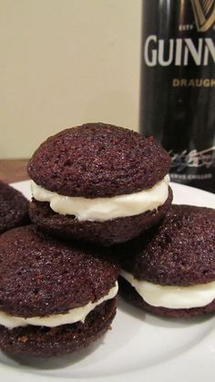 Widget Whoopies have Guinness in the cake and Irish Cream in the middle, making them merry, mouthwatering bite sized treats.