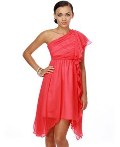 Iris of the Beholder One Shoulder Coral Dress TAM: S