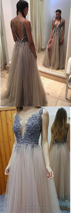 Long Prom Dresses 2018, Princess Party Dresses V-neck, Tulle with Beading Formal Evening Dresses Backless Modest