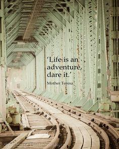 Bridge, Train Tracks, Train, Mother Teresa, Mint Green, Vintage Feel, Journey, Portsmouth NH,  8 x 10 Fine Art Photography