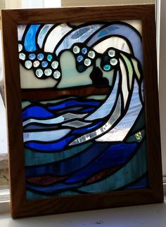 Breaking Wave Stained Glass-Stained Glass Art-Ocean Stained Glass-Stained Glass Window by KirstenskreationzArt on Etsy