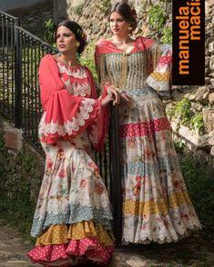 Colección 2018 | Manuela Macías Moda Flamenca Bohemian Gypsy, Bohemian Style, Sari, Elegant, Womens Fashion, Inspiration, Dresses, Gym, Templates