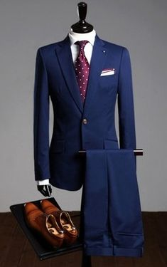 Modern Blue One Button Dress Suit