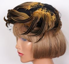 1950s Cocktail Hat Black Silk and Ochre & Black Feathers