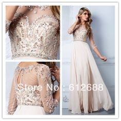 2013 New Arrival Beige Long Chiffon Beading Crystal Prom Dresses Party Formal Gown 3/4 Sleeves Party/Prom Evening Dresses US $135.00