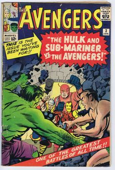 ' The Avengers (Marvel, CGC VF Off-white to white pages. The first Hulk/Sub-Mariner team-up. Jack Kirby - Available at Sunday Internet Comics,. Avengers Comics, Marvel Comic Books, Comic Books Art, Marvel Avengers, Comic Art, Book Art, Dc Comics, Marvel Heroes, Comic Superheroes