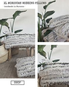 XL moroccan wedding pillows for the perfect bohemian modern bedroom. nordic style, handira pillow, moroccan style decor, boho chic, boho luxe, shop ethical, etsy, ethnic, boheme, tapis maroc, nordic inspiration, white home, sequins and natural wool, cosy, hygge, gypsy, bohemian decor, interior design inspiration, morocco, marrakech style