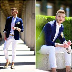 white shirts, pants  navy blazer
