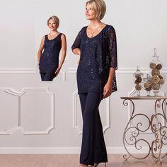 2016 Nova Moda Ternos Formais Pant Para As Mães Da Noiva Plus Size mãe Do Noivo Vestidos de Renda Das Mulheres Da Marinha Vestido Azul Noite
