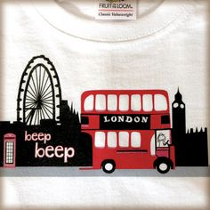 Kids tshirt with London bus and London skyline red by GailYerrill, £8.99