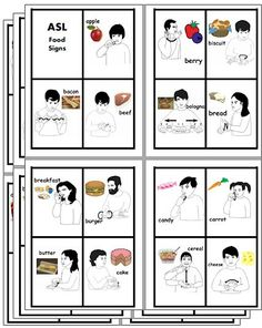 CHSH - ASL American Sign Language Teacher Resources and Worksheets - Food Signing Sign Language Games, Sign Language Colors, Sign Language Phrases, Sign Language Interpreter, Learn Sign Language, British Sign Language, Second Language, Asl Colors, Libra