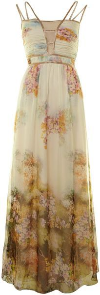 Little Mistress Beige Floral Maxi Dress
