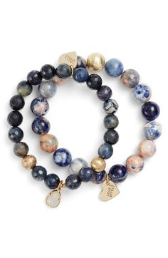 Free shipping and returns on Love's Affect Set of 2 Semiprecious Stone Bracelets at Nordstrom.com. The natural beauty of semiprecious stones shines in this set of two bracelets accented with gold-plated beads and dangling charms.
