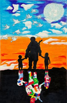 """Lions Club Peace Poster Contest Finalists Merit Award Winner Jonathan Metra Guam """" The soldier represents war and the children represent the need for peace in the world. A world without war is important to them because they are the future. Peace Drawing, Painting Corner, Peace Poster, Cute Little Drawings, Composition Art, World Peace, Environmental Art, Poster Making, Art Classroom"""