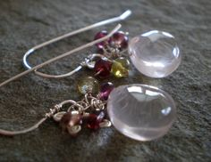 Rose Quartz Petal Earrings with Tundra Sapphire in by graycat26, $28.00
