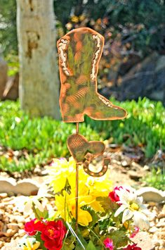 Cowboy Boot Yard Art Garden Plant Stake, Metal Garden Art, Garden Copper Art, Outdoor Sculpture, Garden Marker, Home and Garden Decor,