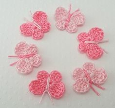 Crocheted Tiny Pink Butterflies by FineThreads on Etsy, $2.50