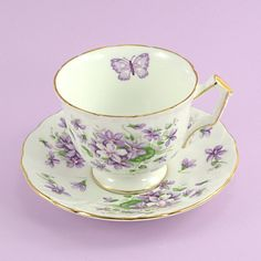 Vintage Aynsley Tea Cup and Saucer Violets by ChatsworthVintage
