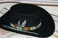 Hat Band Two Feathers Native American by CloudBurst on Etsy