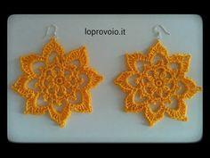 * Orecchini Primavera all'uncinetto * How to do Spring Crochet Earrings Crochet Jewelry Patterns, Tatting Patterns, Crochet Accessories, Crochet Designs, Thread Crochet, Knit Crochet, Jewelry Crafts, Handmade Jewelry, Crochet Dishcloths