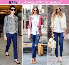produções com tweed e jeans são casuais e perfeitas para o dia a  dia