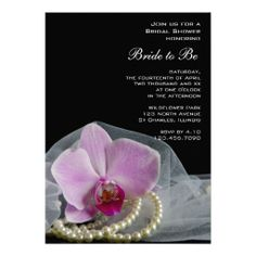 Invite your friends and family to a pre wedding party honoring the bride to be with the pretty #Pink #Orchid and Pearls Bridal Shower #Invitation . Customize it with the specific details of your wedding shower. This elegant custom botanical Bridal Shower Invite features a floral photograph of a pink phalaenopsis orchid flower blossom with a white pearl necklace, bridal veil and black background. Perfect for a classy pink flowery or orchid wedding shower theme. #bridalshower #invitations