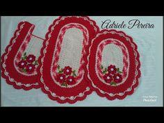 Jogo de banheiro rubi (parte 1) - Adriele Pereira - YouTube Crochet Bedspread Pattern, Pot Holders, Diy And Crafts, Youtube, 1, Crochet Carpet, Denim Rug, Oval Rugs, Places