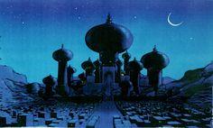 The amazing concept art of Aladdin Artbook: Disney's Aladdin: The Making of an Animated Film Art Disney, Disney Concept Art, Disney Love, Disney Pixar, Art Aladdin, Aladdin 1992, Aladdin Quotes, Disney Quotes, Animation Disney