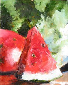 Watermelon Original Oil Painting Big Slice by CorinneGallaFineArt, $120.00