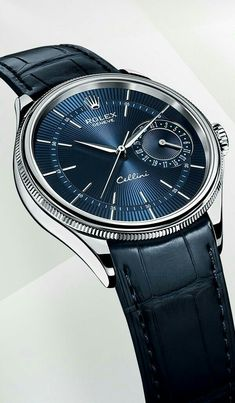 Blue Rolex with leather strap