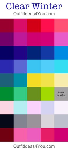 Clear/Bright Winter Color Palette. In Smart Colour Analysis System are 2 groups - Clear Winter with cool tints and Bright Winter with very saturated tints and pure hues. Bright Winter is more saturated and bright.