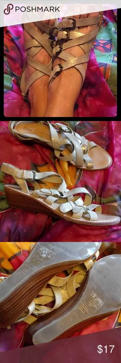 """Gap strappy gladiator gold sandals 9/40 These are a true 9 with 2"""" wedge heels. Only sign of use on sole. GAP Shoes Sandals"""