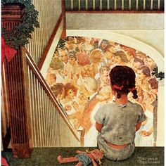 Norman Rockwell - Little Girl Looking Downstairs at Christmas Party, 1964