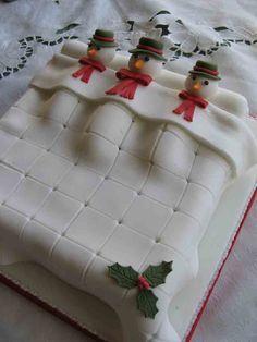 Snowman Cake, perfect for a winter birthday! Christmas Cake Designs, Christmas Cake Decorations, Christmas Cupcakes, Christmas Sweets, Holiday Cakes, Christmas Cooking, Noel Christmas, Christmas Goodies, Xmas Cakes