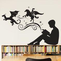 Girl Reading Books Magic Vinyl Wall Decal Girl Reading Vinyls - Vinyl wall decals books
