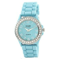 "Golden Classic Women's 2219_aqua ""Savvy Jelly"" Rhinestone Aqua Blue Silicone Watch Golden Classic. $19.80. Animal print dial with contrasting silver hour and minute markers; Silver minute and second hand. Silver rhinestone accented bezel. Water-resistant to 99 feet (30 M). Aqua silicone band with adjustable silver buckle. Highest Standard Quartz Movement. Save 40% Off!"
