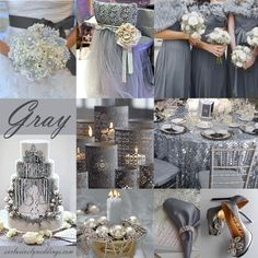 """You may be more familiar with couples using white or ivory as their neutral but as I tend to say, """"Gray is the new neutral"""". Gray can be used alone, as shown below or it can be paired perfectly with plum, yellow, green and coral, among others."""