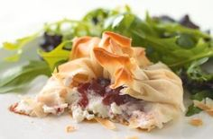 Goat's cheese and cranberry filo parcels