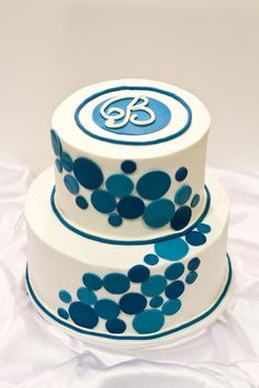 Blue dots with Monogram - 6 inch and 9 inch tiers iced in buttercream with fondant Birthday Cakes For Men, Funny Birthday Cakes, Dot Cakes, Fondant Cakes, Cupcake Cakes, Cupcakes, Cake Decorating Techniques, Cake Decorating Tips, Marzipan