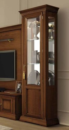 Buy Camel Treviso Day Cherry Wood Italian 1 Right Door Vetrine Online ✓ Free 2 Man Delivery ✓ Pay Deposit ✓ Price Beat Promise ✓ Happy Customers. Small Furniture, Bed Furniture, Wooden Furniture, Furniture Design, Wood Cornice, Tv Cabinets, Kitchen Cabinets, Classic Dining Room, Italian Dining