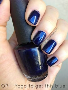 OPI Yoga-ta Get This Blue - This is my favorite navy blue nail polish color! Get Nails, Fancy Nails, Love Nails, How To Do Nails, Opi Blue Nail Polish, Nail Polish Colors, Pedicure Colors, Manicure And Pedicure, Blue Pedicure