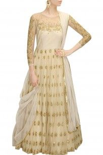 Off white sequins embroidered anarkali gown with white dupatta