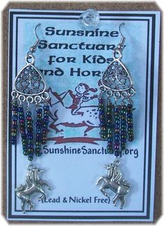 Tibetan Silver Unicorn  Dangle Earrings – Peacock - Unique Handmade in USA #Handmade #DropDangle