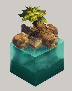 """Isometric Tropical Tree"" by Florian Moncomble. Game Design, Prop Design, Set Design, Isometric Art, Isometric Design, Environment Concept Art, Environment Design, Game Environment, Art Isométrique"