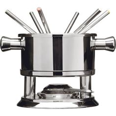 Features:  -Season collection.  -Serve for 6 people.  -Does not included a cookbook.  Type: -Fondue Sets.  Material: -Stainless Steel.  Color: -Silver. Dimensions:  Overall Height - Top to Bottom: -7.