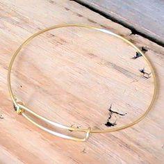 Gold Tone Adjustable Bangle Bracelet,Handmade, Nickel and  Lead Free