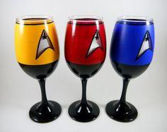 Hand painted Star Trek: The Next Generation wine glasses.