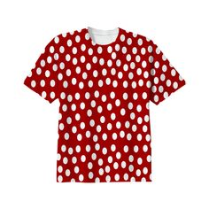 #White #Polka #Dots Red Background #Tee Shirt from Print All Over Me