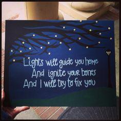MKS Expressions - Megan Schmidt original artwork - Lights will guide you home - Coldplay Phil Harvey, Artwork Lighting, Old Names, Easy Canvas Painting, British Rock, Lyric Art, Britpop, Coldplay, Fix You