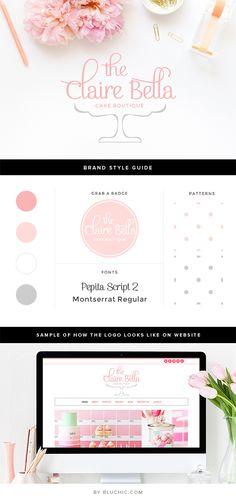 Feminine chic premade logo design for cupcake and… - MKS Web Design Bakery Branding, Branding Design, Brand Identity Design, Corporate Branding, Web Design, Logo Patisserie, Patisserie Design, Pastry Logo, Cupcake Logo